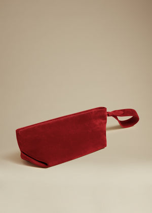 The Alma Wristlet in Deep Rose Suede
