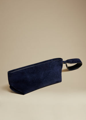 The Alma Wristlet in Navy Suede