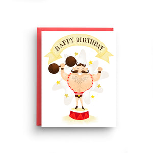 happy birthday card, strong man card, funny birthday card, card for boyfriend, circus card, happy birthday, strong man, funny card for him, card for him, birthday him, funny card, circus birthday, boy birthday