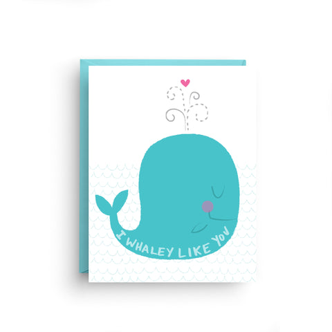 i love you card, girlfriend card, boyfriend card, anniversary card, card for husband, card for wife, valentine's day card, cute card, funny card, lgbt card, nautical card, whale, I really like you