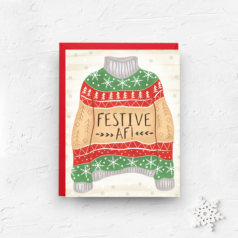 ugly sweater card, christmas card, funny christmas card, merry christmas card, christmas sweater, funny card, funny ugly sweater, festive as fuck, boxed set, festive af, on sale, black friday sale, cyber monday sale