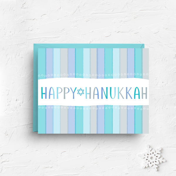 hanukkah card, happy hanukkah, hanukkah, happy hanukkah card, hanukkah menorah, menorah, menorah card, blue, chanukah menorah, chanukah, jewish cards, hebrew cards, boxed set of 6