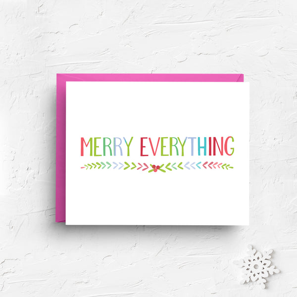 merry everything, merry christmas card, cute christmas card, retro christmas card, christmas greeting, holiday greeting, merry christmas, xmas card, funny christmas, pink christmas, boxed set, black friday sale, cyber monday sale
