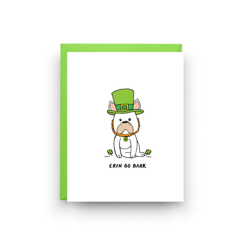 st patrick's day, shamrock card, st paddy's day, irish card, irish gift, four leaf clover, card for friend, on sale, mix and match, french bulldog card, dog card, erin go bragh, boxed set