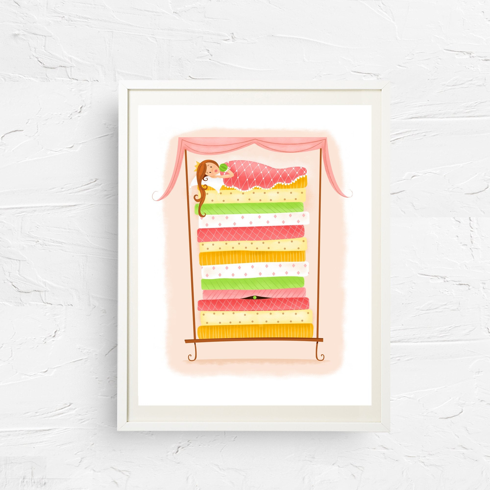 8x10, 11x14, art print, physical print, wall decor, free shipping, sale, coupon code, cinderella, fairytale print, nursery print, children's art, princess and the pea