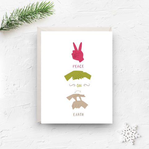 christmas card, merry christmas card, merry christmas, christmas, peace on earth, sign language, holiday card, peace card, sign language card, happy holidays, peace, boxed set, on sale