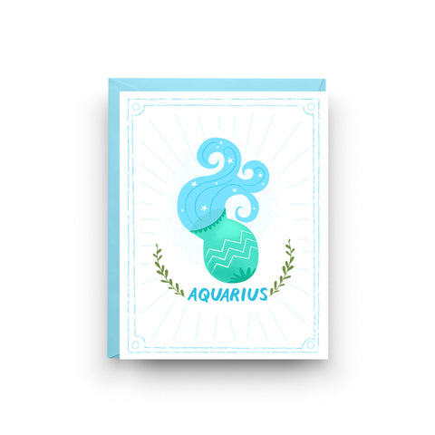 aquarius birthday card, zodiac sign, birthday card, nicole marie paperie