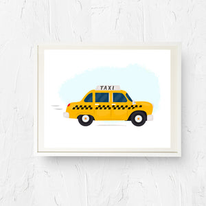 8x10, 11x14, art print, physical print, wall decor, free shipping, sale, coupon code, taxi print, new york city, new york taxi, yellow taxi cab, new york print