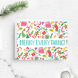 merry everything, merry christmas card, cute christmas card, retro christmas card, christmas greeting, greeting card, holiday greeting, merry christmas, xmas card, funny christmas, pink christmas, boxed set, on sale