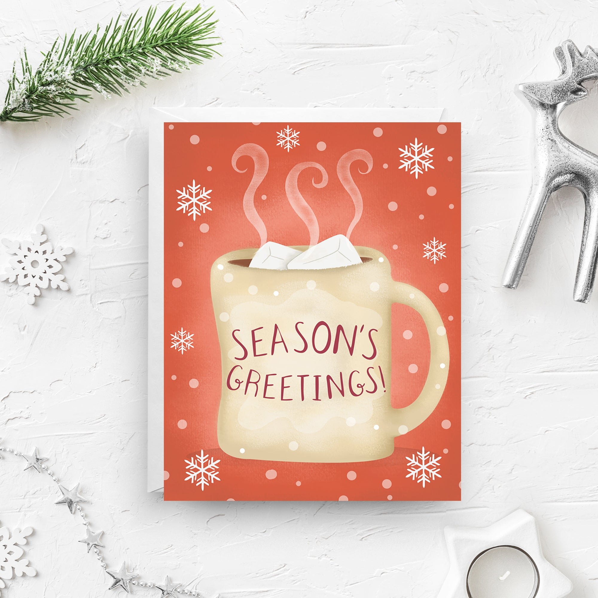season's greetings, christmas card, hot chocolate card, hot cocoa card, merry christmas card, hot cocoa, christmas mug card, hot chocolate mug, hot cocoa mug, boxed set, on sale, black friday sale, cyber monday sale