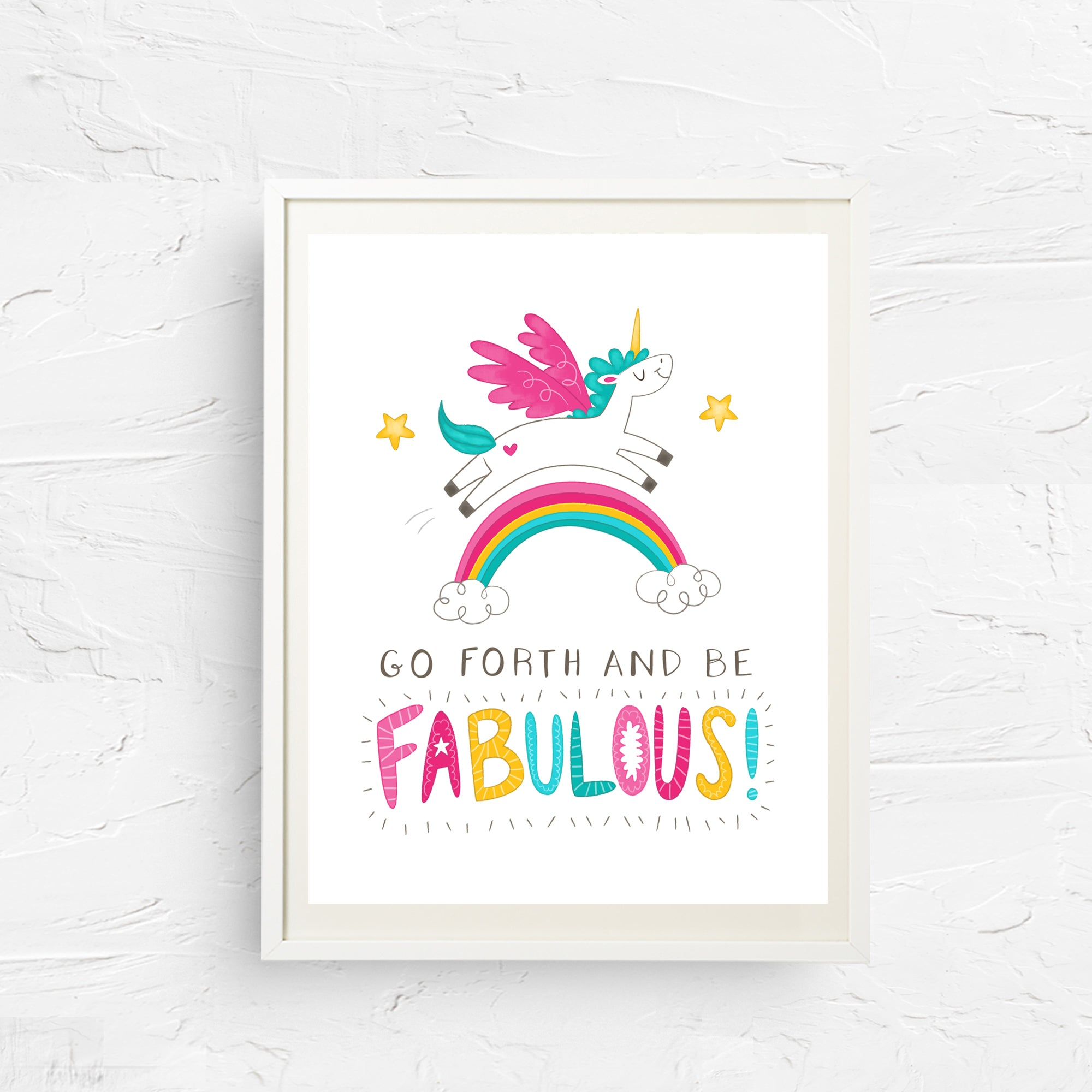 8x10, 11x14, art print, physical print, wall decor, free shipping, sale, coupon code, unicorn print, rainbow print, children's wall art, gift for girl, birthday present
