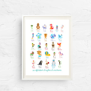 nursery art, alphabet, alphabet print, kid's room decor, 8x10, 11x14, baby wall art, alphabet nursery art, children's art, fairy tale print, mythical alphabet, monster print, abc print