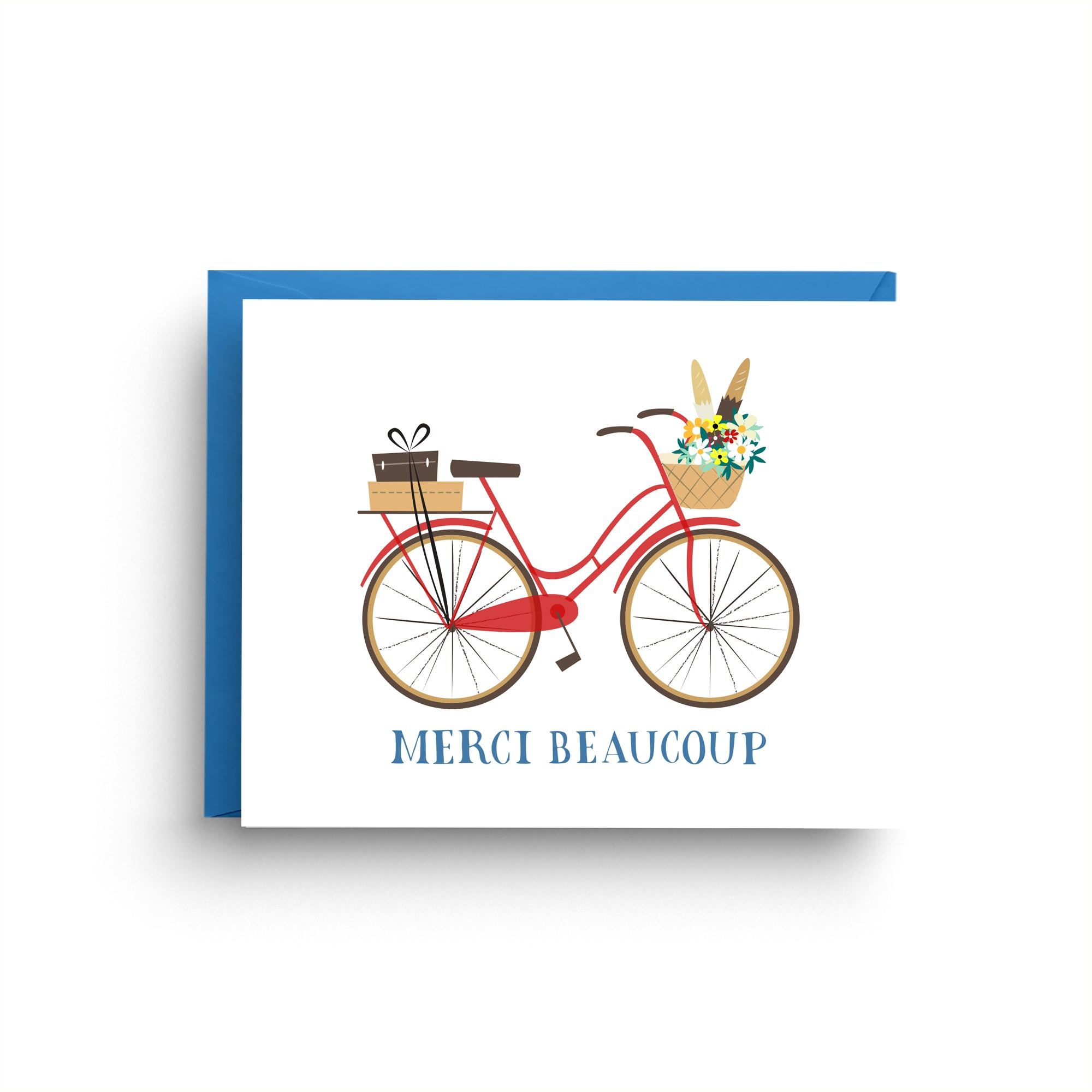 thank you card, wedding thank you, cute thank you, thank you card set, vintage bike, blue bicycle, red bicycle, bicycle thank you, retro bicycle, merci beaucoup, merci card, french card, boxed set