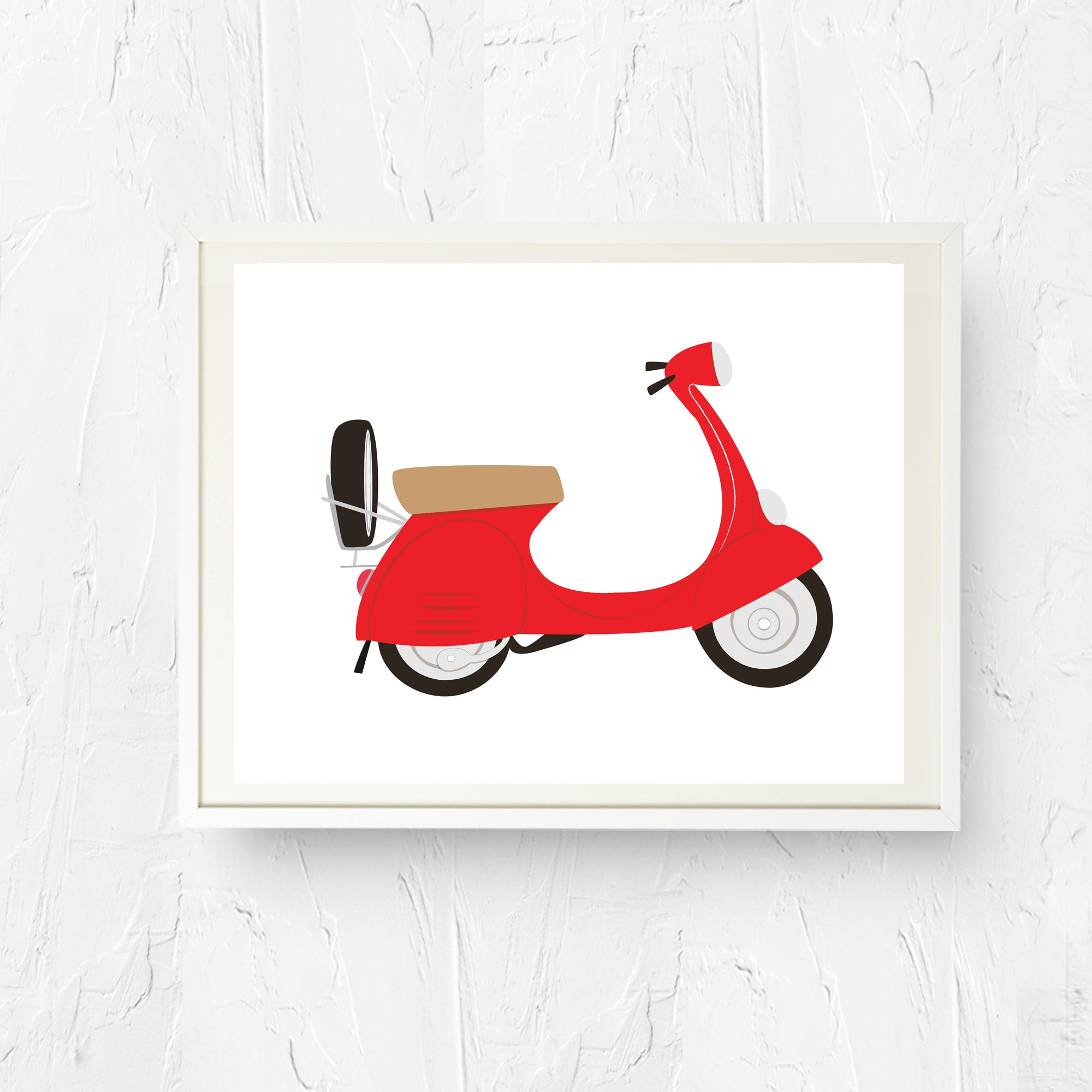 8x10, 11x14, art print, physical print, wall decor, free shipping, sale, coupon code, red vespa, green vespa, italian scooter, vespa art, vespa wall art
