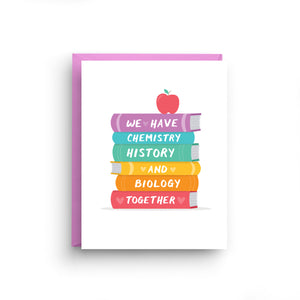 i love you card, girlfriend card, boyfriend card, anniversary card, card for husband, card for wife, valentine's day card, cute card, funny card, we have chemistry, book lover card, back to school, lgbt card