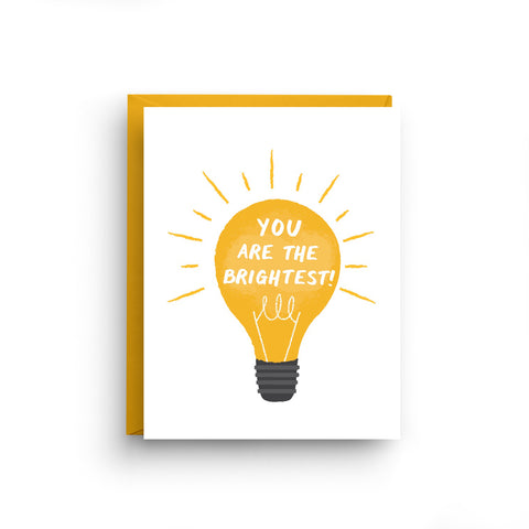 inspirational card, be yourself, motivational card, you are the, brightest, lightbulb, graduation card, congrats card, you did it card, congratulations, encouragement card, vintage lightbulb, Promotion card
