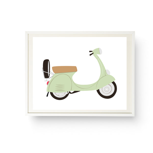Vespa  - Mint Green Italian Scooter Print