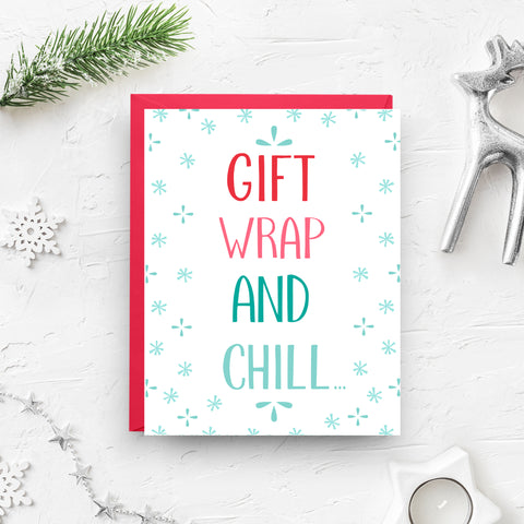 christmas card, christmas ornament, cute christmas card, christmas greeting, greeting card, holiday boxed set, holiday cards, funny christmas, silly christmas, gift wrap, netflix and chill, christmas pattern, funny holiday card