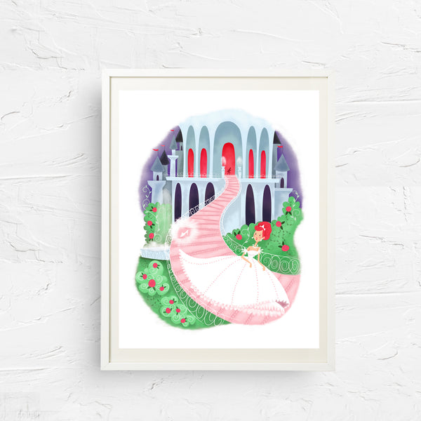 8x10, 11x14, art print, physical print, wall decor, free shipping, sale, coupon code, cinderella, fairytale print, nursery print, children's art, rapunzel