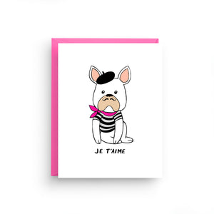 i love you card, girlfriend card, anniversary card, card for wife, valentine's day card, funny card, french bulldog, pink valentine, dog card, pet lover card, dog stationery, je t'aime, cards in french