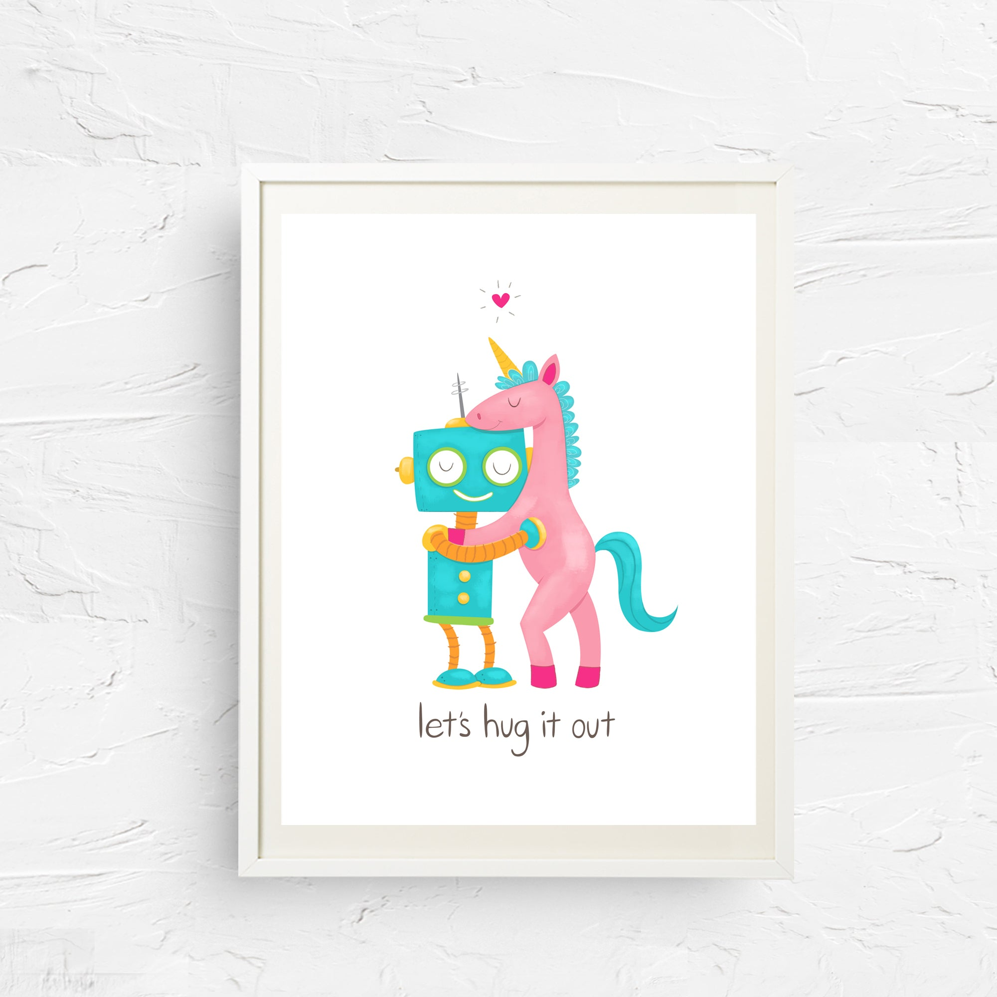 8x10, 11x14, art print, physical print, wall decor, free shipping, sale, coupon code, unicorn print, robot print, children's wall art, let's hug it out, kids room print
