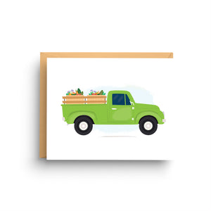 blank stationery, stationery note card, card for men, masculine birthday, gift for him, stationery set, father's day card, dad birthday card, green and brown, vintage truck, pickup truck, farmer's market, vintage pick up