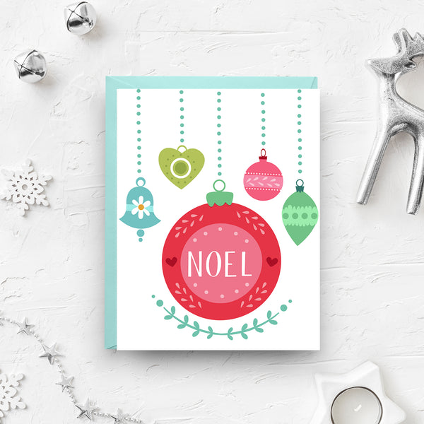 noel christmas, noel card, christmas card, ornament card, christmas ornament, scandinavian design, cute christmas card, retro christmas card, holiday boxed set, holiday cards, boxed set, black friday sale, cyber monday sale