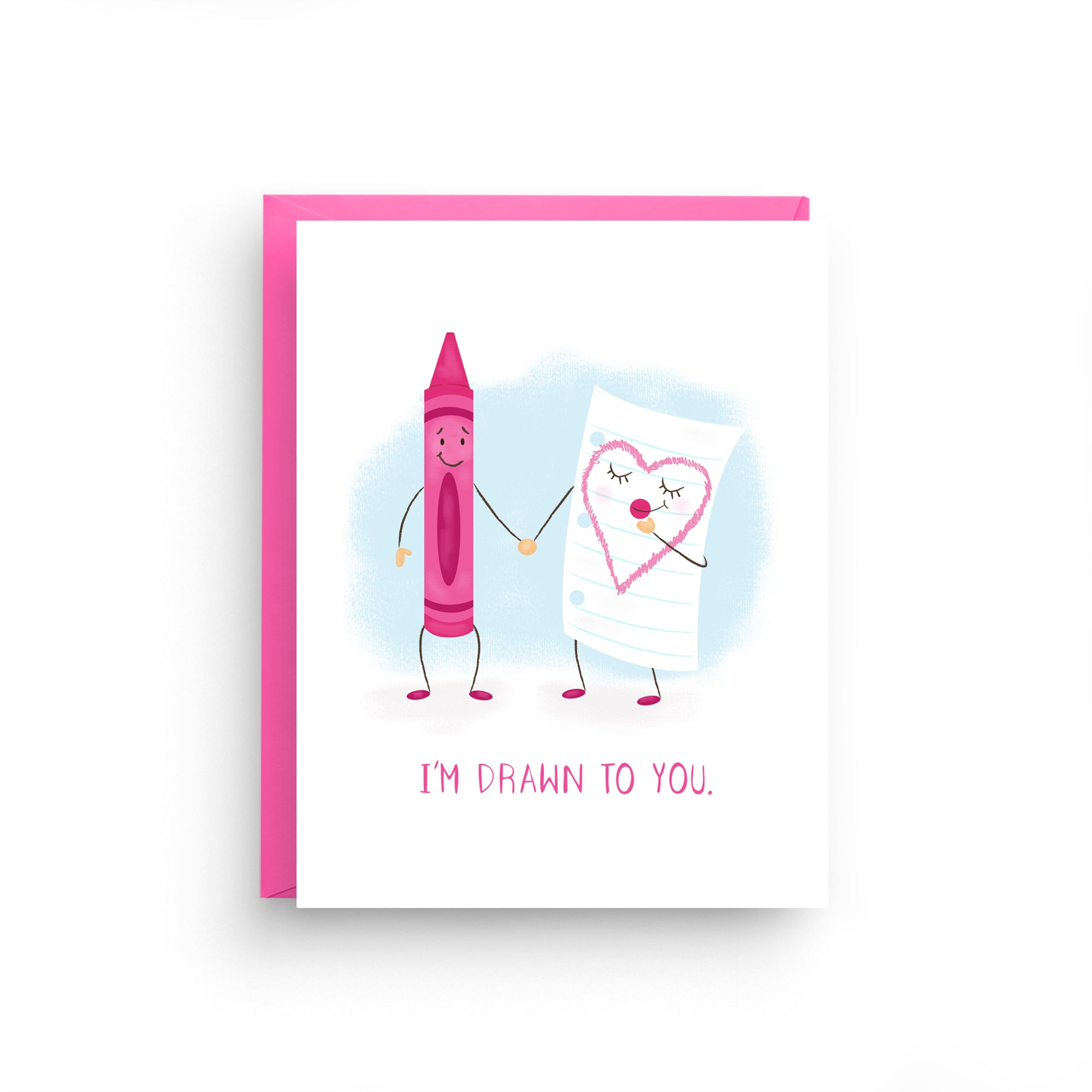 i'm drawn to you, i love you card, crayon card, cute card, cute i love you card, happy anniversary, girlfriend card, boyfriend card, anniversary card, i love you, card for wife, card for husband, love card