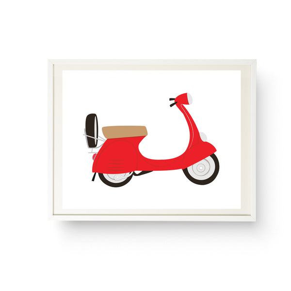Red Vespa Italian Scooter Print