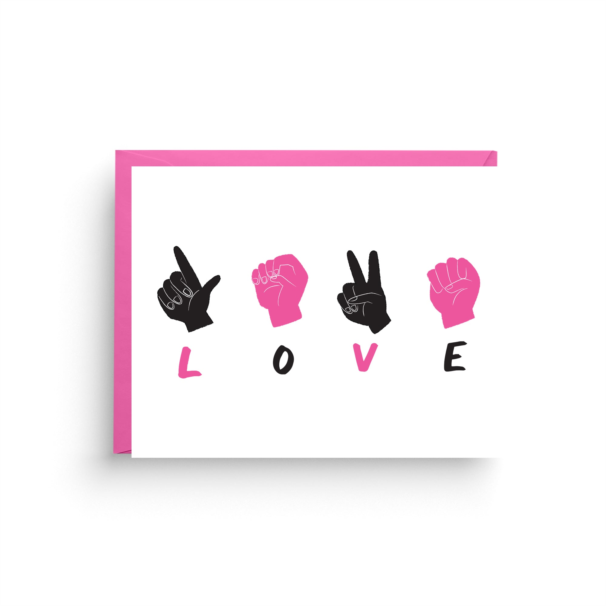 i love you card, anniversary card, valentine's day card, funny card, french bulldog, pink valentine, asl, sign language card, love card, pink card, pink and black, card for the deaf, pink love card