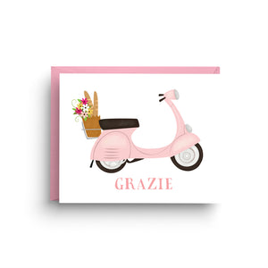 vespa stationery, scooter card, boxed set of cards, vespa card, Italian wedding, thank you card, wedding card, Italian stationery, Italian card, scooter, spring card, grazie card, pink vespa
