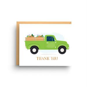 stationery note card, card for men, masculine birthday, gift for him, stationery set, father's day card, dad birthday card, green and brown, vintage truck, pickup truck, farmer's market, vintage pick up, thank you card