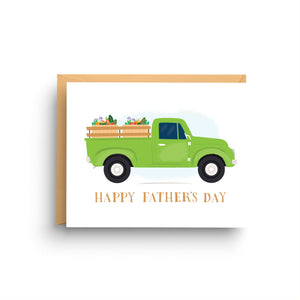 blank stationery, funny birthday card, stationery note card, card for men, masculine birthday, gift for him, stationery set, father's day card, dad birthday card, green and brown, vintage truck, pickup truck, farmer's market