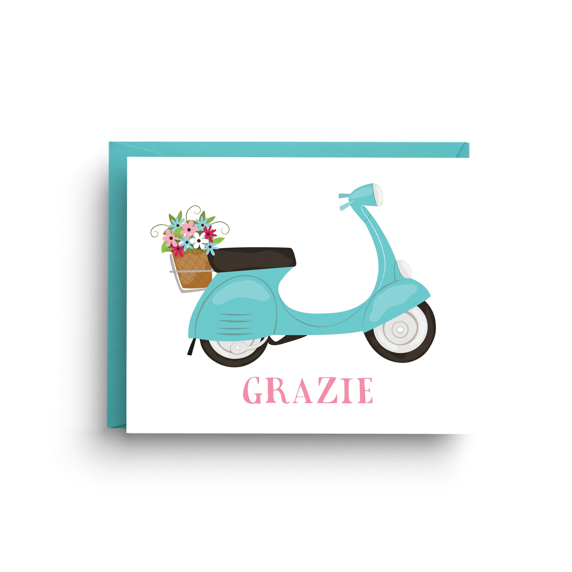 vespa stationery, scooter card, boxed set of cards, vespa card, Italian wedding, thank you card, wedding card, Italian stationery, Italian card, scooter, spring card, grazie card, blue vespa