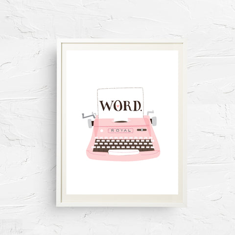 8x10, 11x14, art print, physical print, wall decor, free shipping, sale, coupon code, selfie, vintage typewriter, word, royal typewriter, typewriter print