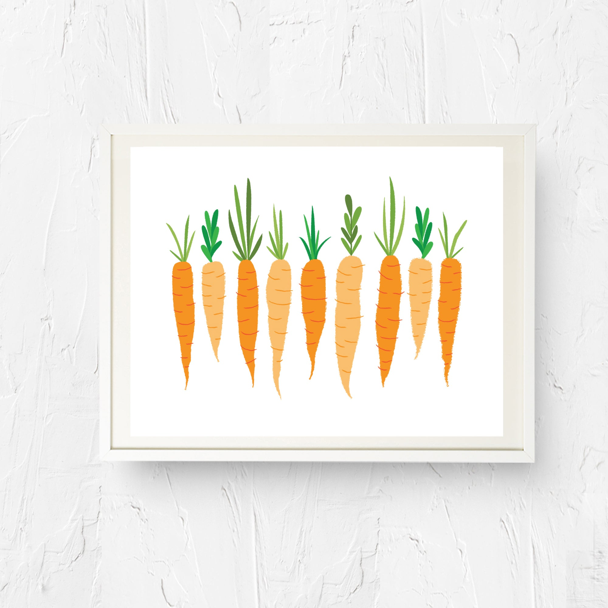8x10, 11x14, art print, physical print, wall decor, free shipping, sale, coupon code, retro print, kitchen print, vegetable art, spring carrots, carrots print