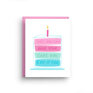 motivational card, friendship card, birthday card, marie antoinette, inspirational card, cake card, birthday cake, best friend birthday, have your cake, have your cake and eat it too, birthday greeting, pop art card, cake lover, girl birthday card