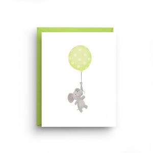 Green Elephant Balloon Card