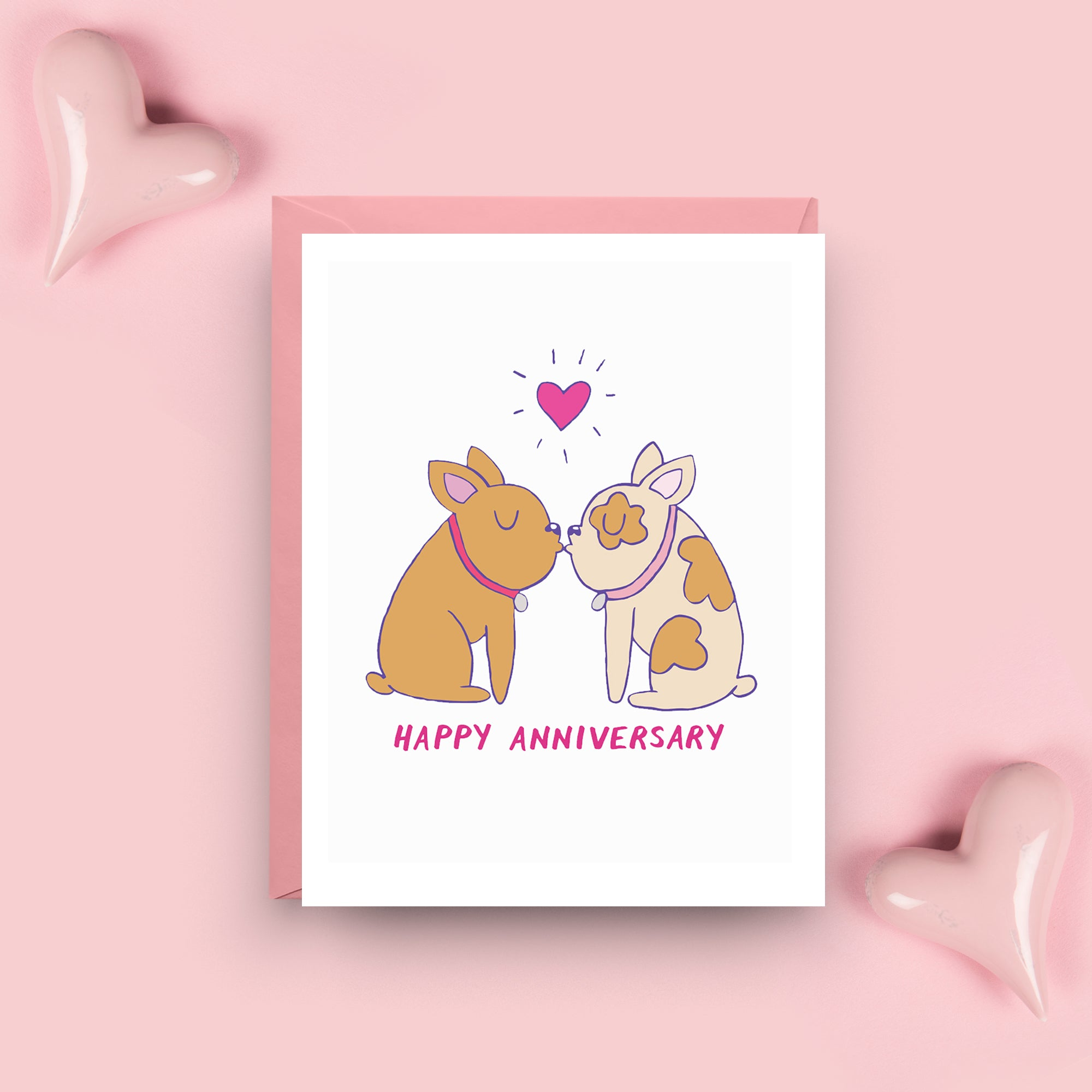 French Bulldog Anniversary Card