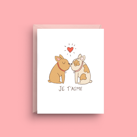 Je T'aime - French Bulldog Card
