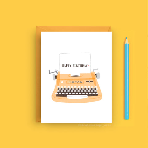 Vintage Typewriter Birthday Card