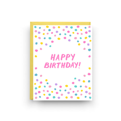 Pink Confetti Birthday Card