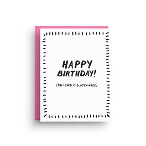 birthday card, happy birthday card, happy birthday, birthday, funny birthday card, gluten-free, gluten-free birthday, funny birthday, gift for friend, friendship card, card for her, sarcastic card, humour card
