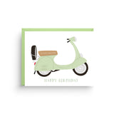 birthday card, happy birthday card, happy birthday, birthday, retro style, birthday for her, vespa card, vintage vespa, vespa birthday card, masculine birthday, card for him, italian scooter, red vespa