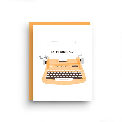 birthday card, happy birthday card, happy birthday, birthday, card for him, vintage typewriter, royal typewriter, card for writer, typewriter card, retro style, card for her, birthday note card, boxed set of 6