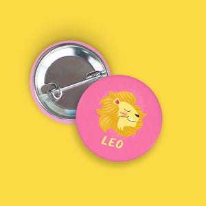 Leo Pin-Back Zodiac Button