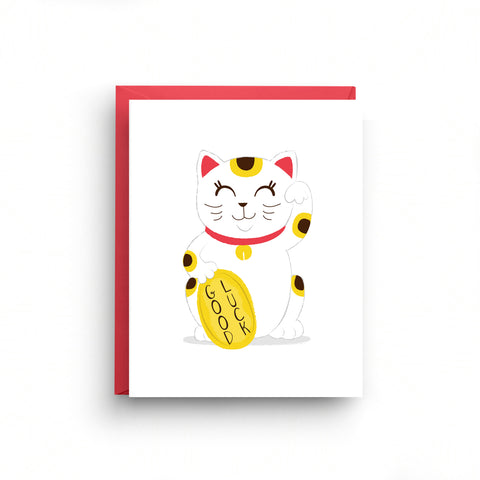 maneki-neko, maneki-neko card, good luck, good luck cat card, chinese good luck, japanese lucky cat, asian inspired, welcoming cat, good luck card, japanese card, japanese stationery, encouragement card, chinese new year