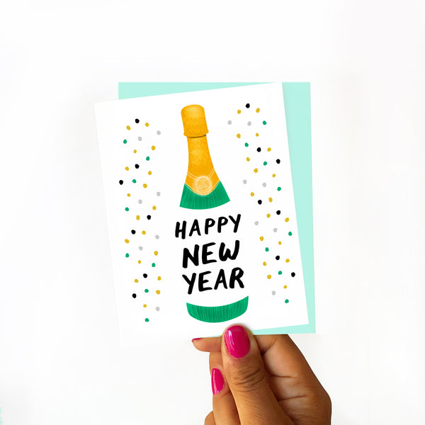 card, happy new year, new year's card, 2020 card, new year confetti, new year card, card for friend, boxed set, blue new year card, blue card', blue and gold, champagne bottle, champagne