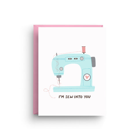 i love you card, cute i love you card, happy anniversary, i love you, cute card, funny valentine, i'm sew into you, valentine's day card, valentine's day, sewing machine, card for sewers, card puns, blue
