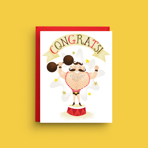 Strong Man Congratulations Card